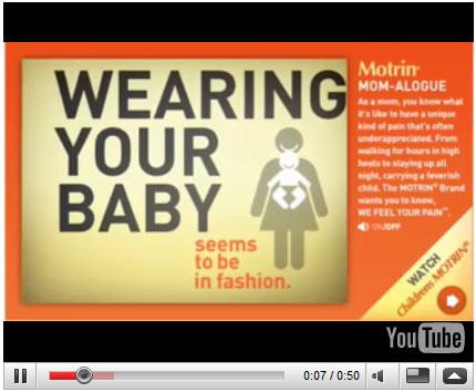 Motrin Mom Babywearing Ad