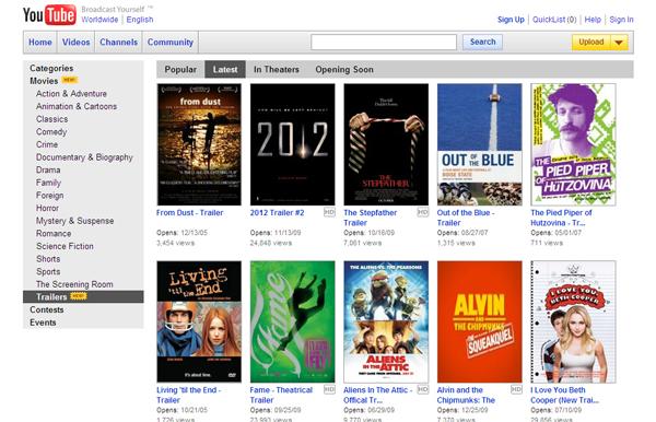 Youtube ให้ดูหนังเรื่องเต็มแล้วไม่พอ ให้ดูตัวอย่างหนังอีก ฟรี!