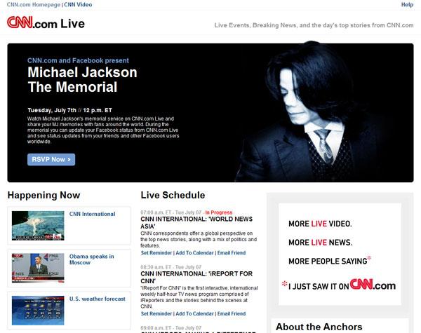 CNN จับมือ Facebook ถ่ายทอดสดระลึกถึง Michael Jackson