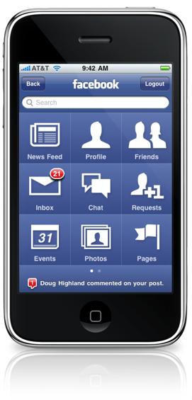 facebook application v.3 for iPhone