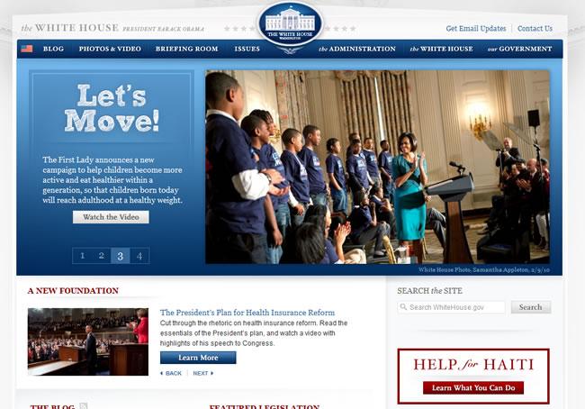 """""""WhiteHouse.Gov"""" เว็บไซต์ที่ ออกแบบใหม่ ยอดเยี่ยมปี 2009"""