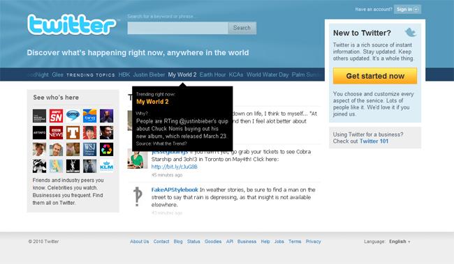 หน้าแรกโฉมใหม่ของ Twitter