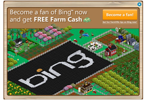 Bing โฆษณาใน FarmVille ได้จำนวน Fan เพิ่ม 400,000