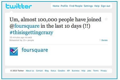Foursquare 12 วัน สมาชิกเพิ่ม 100,000