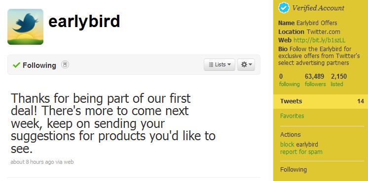 Twitter เปิดบริการใหม่ @earlybird เพื่อแนะนำสินค้าและบริการโปรโมชั่นต่างๆ