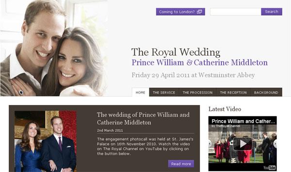 เว็บไซต์งานแต่งของเจ้าชายวิลเลี่ยม โดย Google