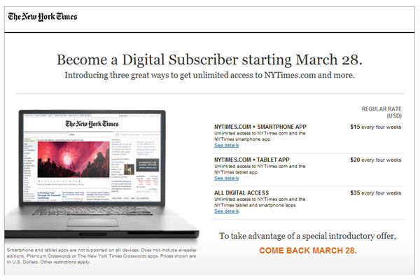 Subscription โมเดลใหม่ของ New York Times