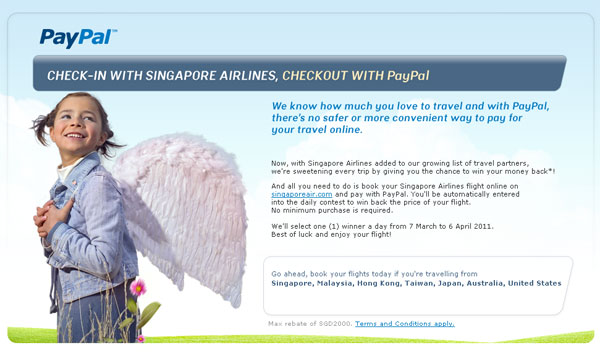 Singapore Airlines ให้ลูกค้าชำระเงินผ่าน PayPal
