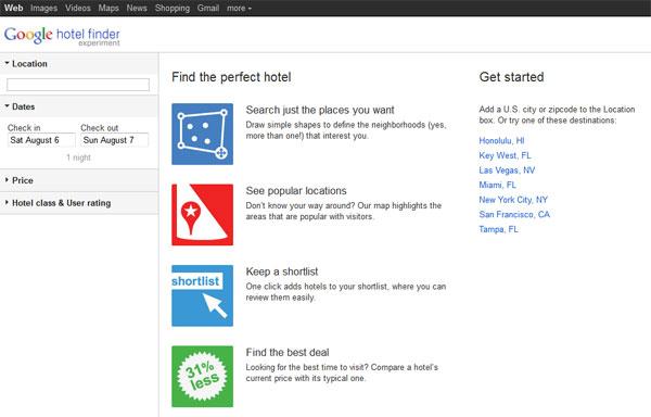 Google เปิดตัวทดสอบ Hotel Search