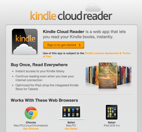 Kindle Cloud Reader เปิดฉากการอ่านบนก้อนเมฆ