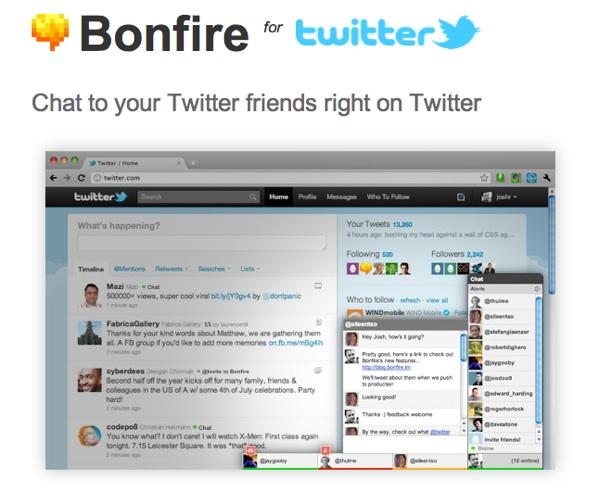 Bonfire แชตกับเพื่อนในทวิตเตอร์