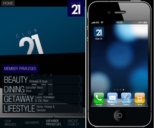 ได้เวลาของ Club 21 บน iPhone App