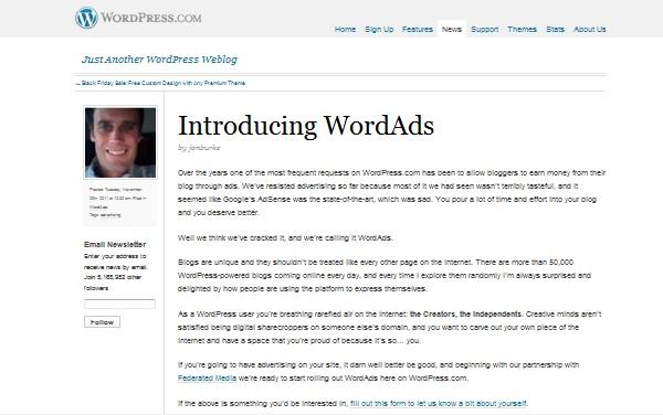 WordPress ออกระบบโฆษณา WordAds ประกบ AdWords