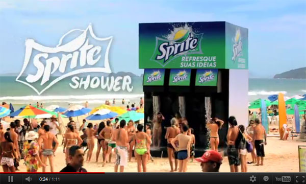 Sprite Shower ดับร้อนด้วยเครื่องอาบน้ำเย็นสุดคูลกลางชายหาด