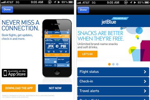 สายการบิน JetBlue ขายแพคเกจทริปผ่านมือถือ