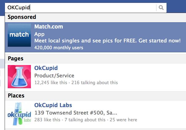 Facebook เพิ่มโฆษณาในช่องเสิร์ชแล้ว