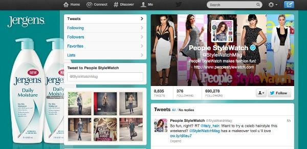 People Style Watch ขายพื้นที่โฆษณาบนหน้า Profile Twitter