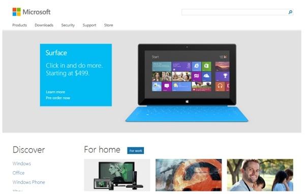 Microsoft.com ปรับหน้าเว็บใหม่รับ Windows 8