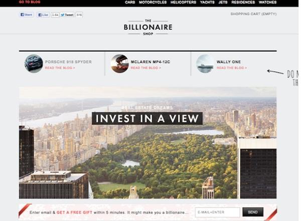 """แจ้งเกิดร้านออนไลน์คนรวย """"Billionaire Shop"""" ทุกชิ้นราคาเกินหมื่นยูโร"""