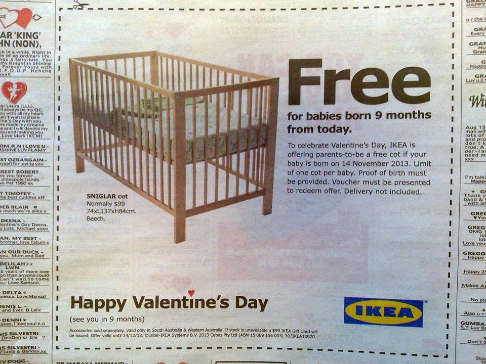 """IKEA แจกเปลเด็กถ้าคุณ""""ปั๊ม""""ติดในวันวาเลนไทน์"""