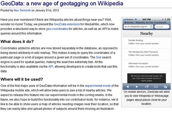 Wikipedia จะทำหน้า Nearby ให้อ่านหรือเพิ่มข้อมูลสถานที่ใกล้เคียงได้