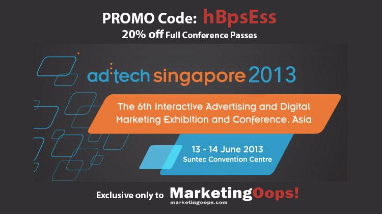 กลับมาอีกครั้ง ad:tech Singapore 2013 พร้อมส่วนลดเพิ่ม 20%