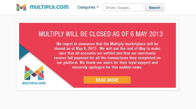 เว็บไซต์ Multiply ประกาศปิดตัว 6 พ.ค. นี้