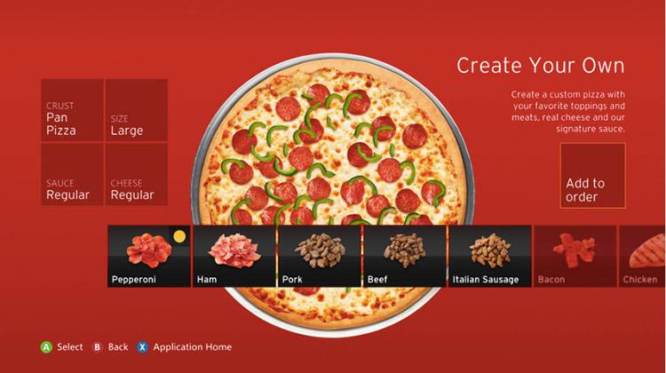 Pizza Hut เปิดสั่งพิซซ่าจากเกม Xbox 360