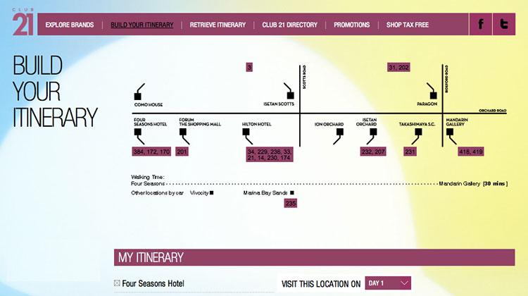 Club 21 กับบริการ Shopping Itinerary
