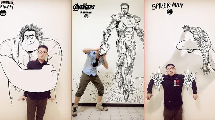 ทำได้! กับภาพจริงที่เป็นส่วนหนึ่งของภาพวาด Super Hero