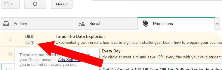 กูเกิลทดลองโฆษณาเป็นเมลใน Gmail
