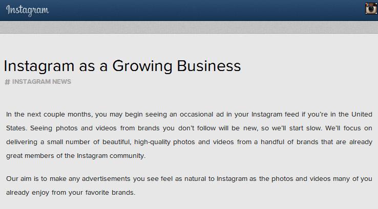 Instagram เปิดตัวระบบโฆษณา
