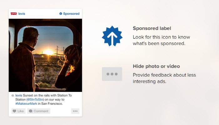 ตัวอย่างโฆษณาที่จะแสดงใน Instagram