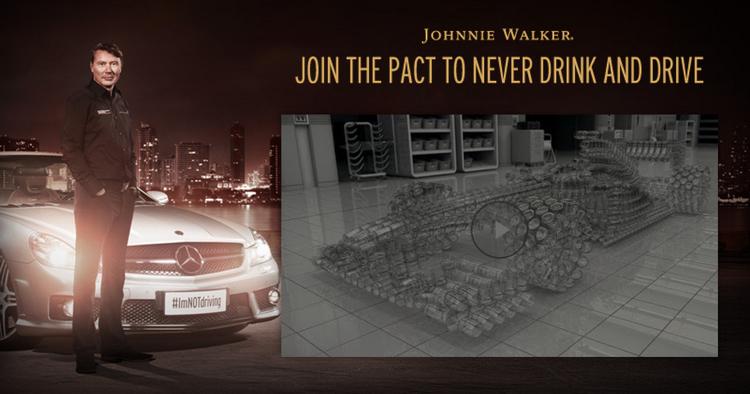 Johnie Walker รณรงค์เมาไม่ขับด้วยนักแข่งรถสูตรหนึ่งและแก้วน้ำไซบอร์ก