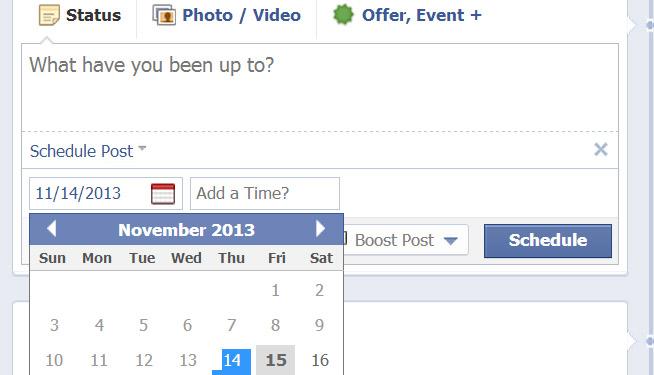 เฟซบุ๊คปรับเมนูตั้งเวลาโพสต์