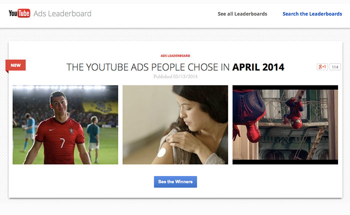 10 อันดับภาพยนตร์โฆษณาที่มียอดวิวมากที่สุดบน YouTube เมษายน 2557