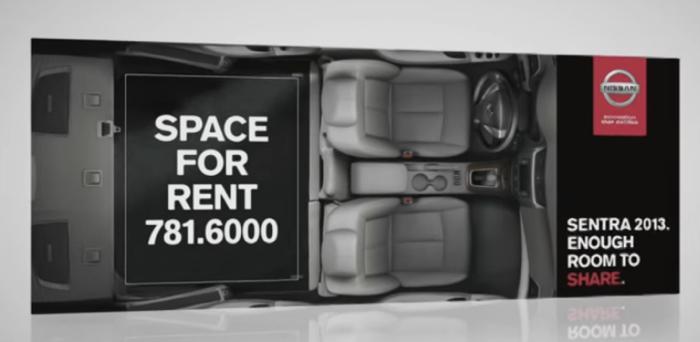 นิสสันคุยโว! รถภายในกว้างสุดๆ ด้วยบิลบอร์ดโฆษณาซ้อนโฆษณา