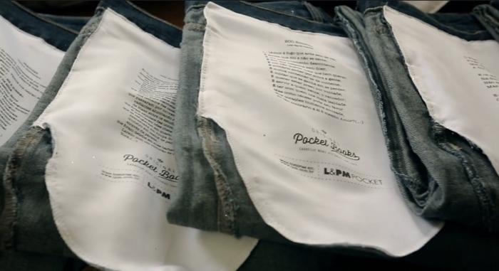 พ็อกเก็ตบุ๊คโปรโมทตัวเองผ่านเรื่องราว คำคมบนกระเป๋ากางเกงยีนส์