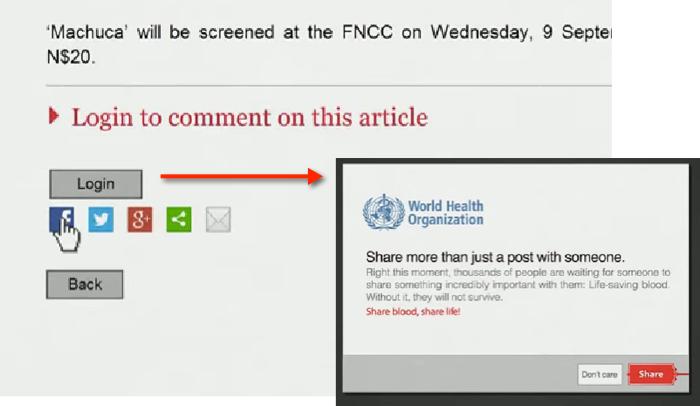WHO ใช้ปุ่ม Share ส่งข่าวชวนคนบริจาคโลหิตอย่างได้ผล