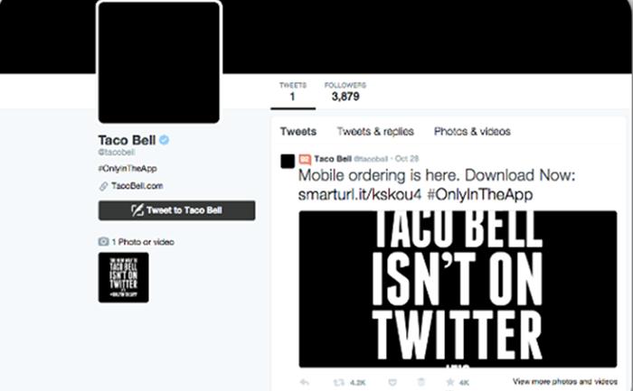 Taco Bell โปรโมทแอพฯ สั่งอาหารออนไลน์ด้วยการ blackout โซเชียลเนตเวิร์คทุกตัว!