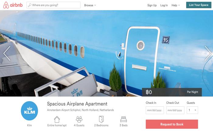 "KLM เปิด ""บ้านเครื่องบิน"" ให้คนเช่านอนฟรีผ่านเว็บ Airbnb"