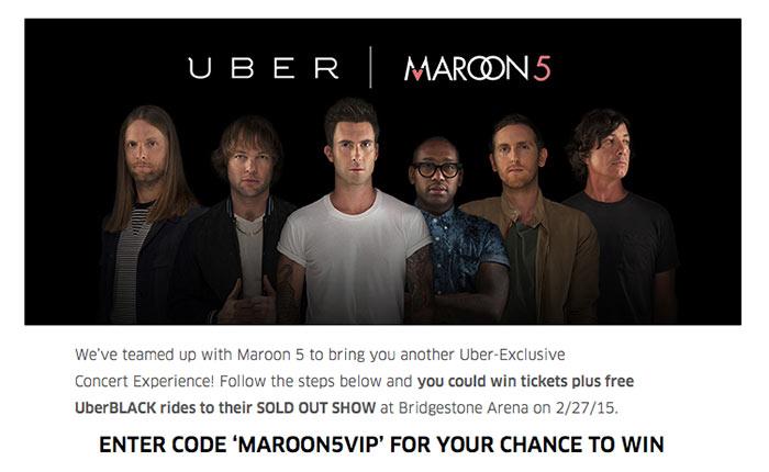 Uber x Maroon 5 จัดโปรฯพานั่งแท็กซี่ดูคอนเสิร์ต Moroon 5
