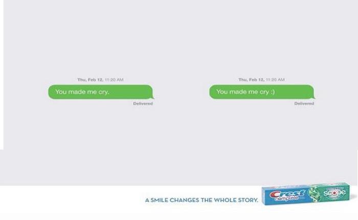 แบรนด์ยาสีฟันใช้โฆษณาในสื่อสิ่งพิมพ์ที่สื่อได้เคลียร์ว่าหากยิ้มแล้วชีวิตเปลี่ยนแน่!