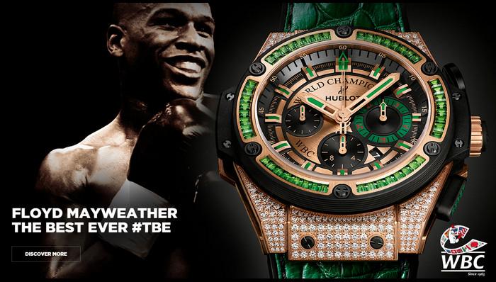 นาฬิกาแบรนด์หรู Hublot เปิดตัวเป็นพรีเซนเตอร์ Floyd Mayweather สำหรับนาฬิการุ่น King Power WBC มรกตเขียว
