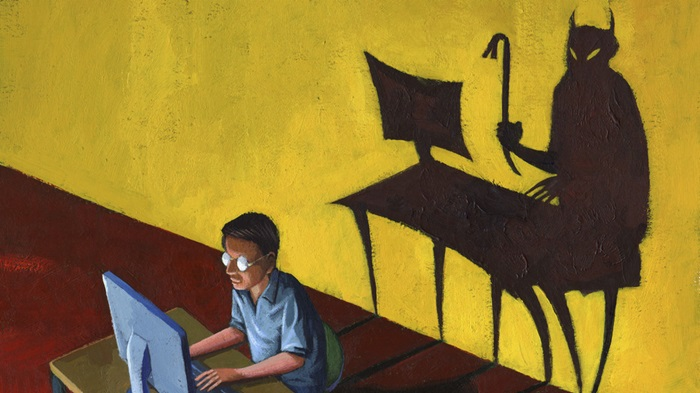 Man using computer, with devil-shaped shadow behind, comic book, painterly