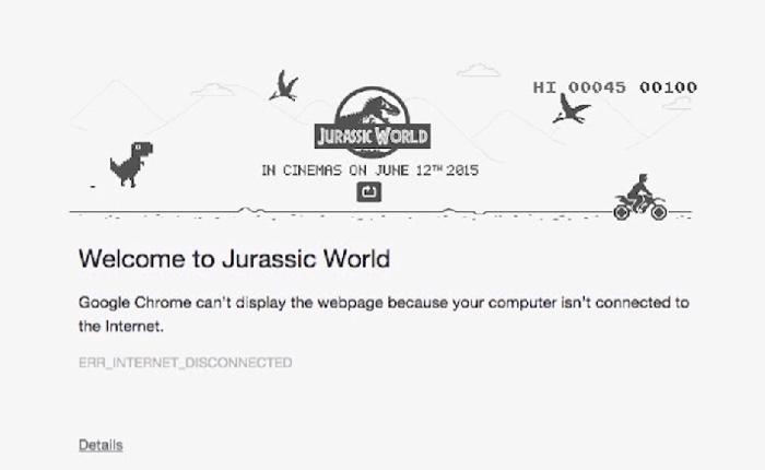 เด็กเอกโฆษฯเล่นง่าย Tie in ไดโนเสาร์เมื่อเน็ตเดี้ยงในกูเกิลโครมเพื่อโปรโมทหนัง Jurassic World