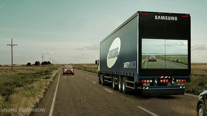 Samsung เปลี่ยนรถบรรทุกบริษัทเป็น Safety Trucks ช่วยให้คนขับข้างหลังเห็นวิวด้านหน้า