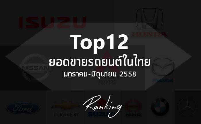 Top 12 ยอดขายรถยนต์ในไทย มกราคม-มิถุนายน 2558