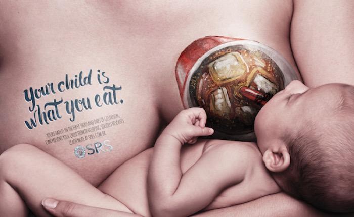โฆษณาสิ่งพิมพ์บราซิล ใช้เทคนิค Body Art สอนแม่วัยละอ่อนให้ห่างไกล Junk food อย่างได้ผล