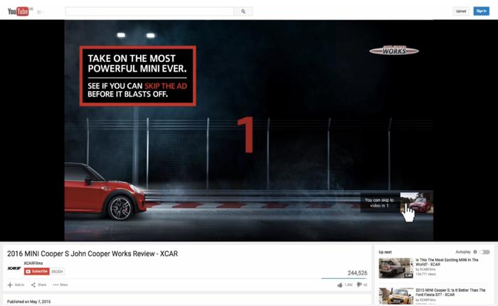 รถมินิท้าทายลูกค้าใจร้อนด้วยปุ่ม Skip Ad แบบไฮสปีดคราวนี้มาดูว่ารถหรือนิ้วคนใครจะไวกว่ากัน